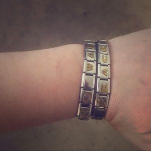 Two Silver Bracelets No War/ Peace